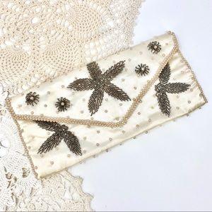 Vintage Satin Ivory Beaded Clutch